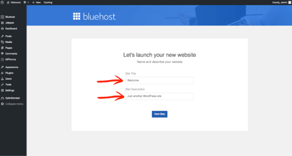 bluehost general settings