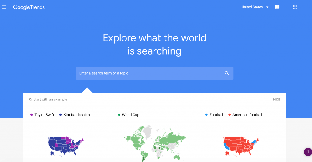 The Google Trends dashboard.