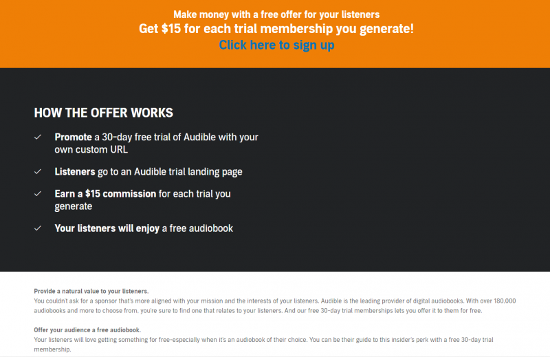 The affiliate program page for Audible.