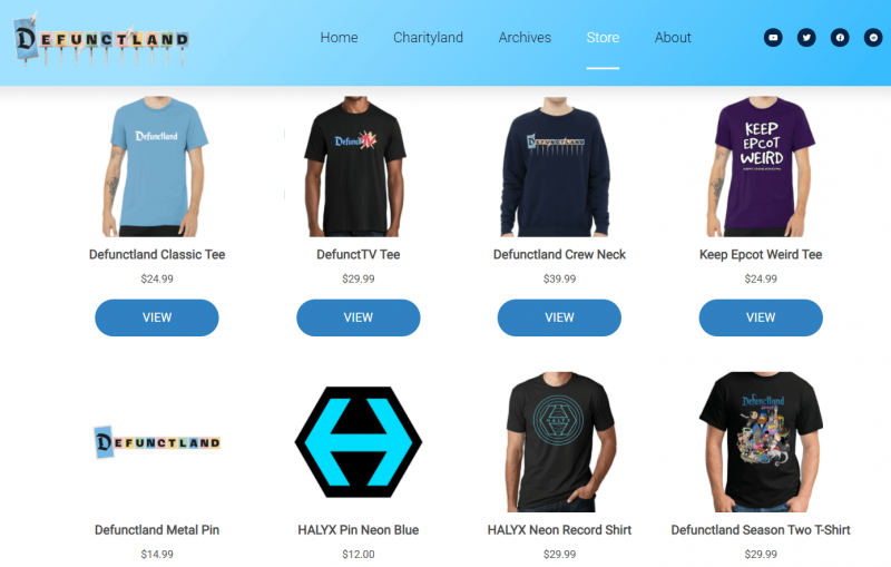 The store page of Defunctland.com, using branded merchandise to monetize their ideas and content.