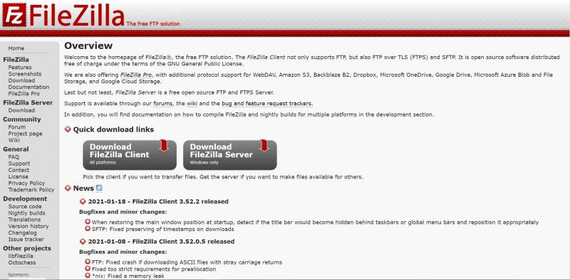 The FileZilla homepage.